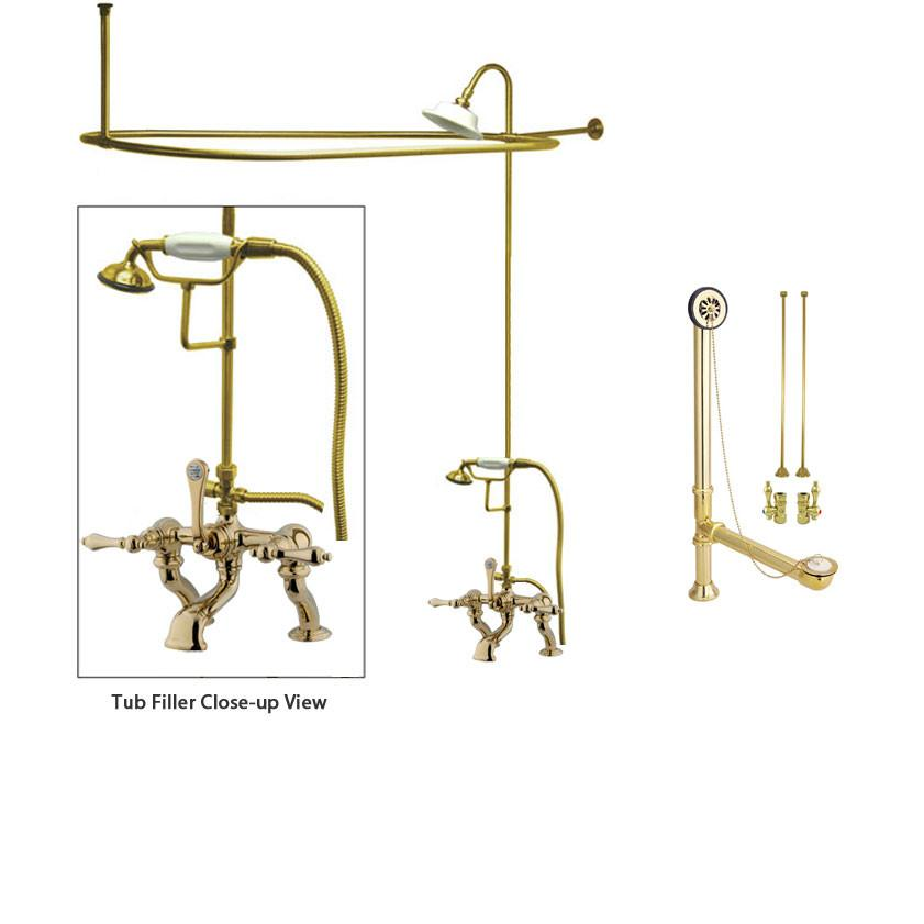 Polished Brass Clawfoot Tub Faucet Shower Kit with Enclosure Curtain Rod 409T2CTS