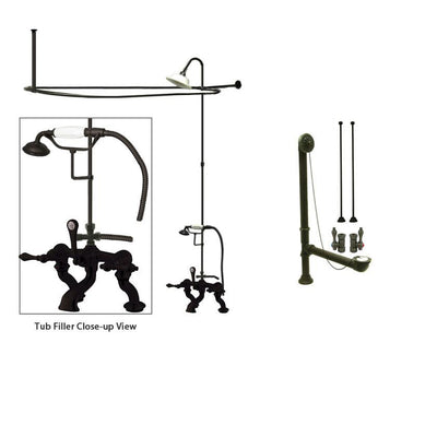 Oil Rubbed Bronze Clawfoot Tub Faucet Shower Kit with Enclosure Curtain Rod 409T5CTS