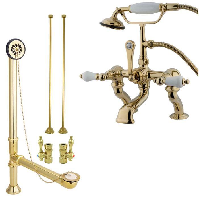 Polished Brass Deck Mount Clawfoot Tub Faucet Package w Drain Supplies Stops CC411T2system