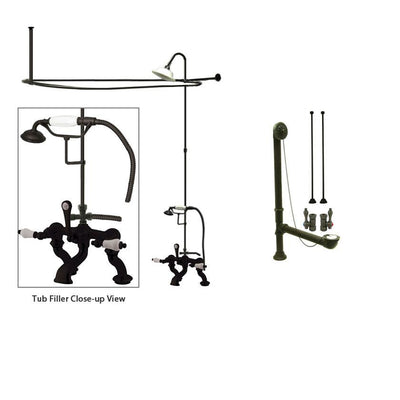 Oil Rubbed Bronze Clawfoot Tub Faucet Shower Kit with Enclosure Curtain Rod 411T5CTS
