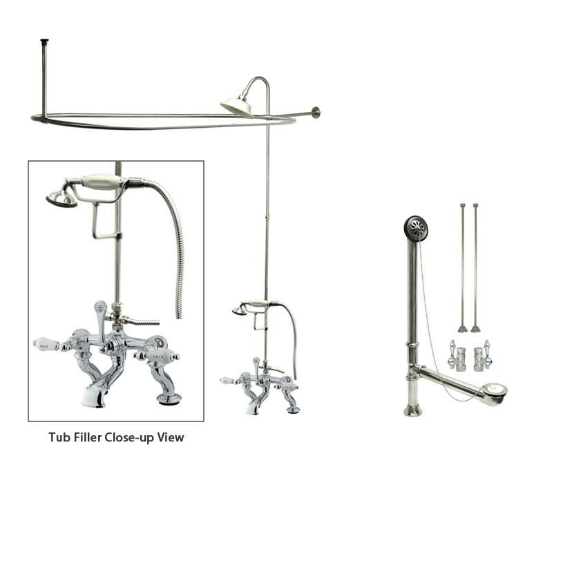 Chrome Clawfoot Tub Faucet Shower Kit with Enclosure Curtain Rod 414T1CTS