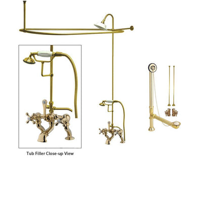 Polished Brass Clawfoot Tub Faucet Shower Kit with Enclosure Curtain Rod 415T2CTS