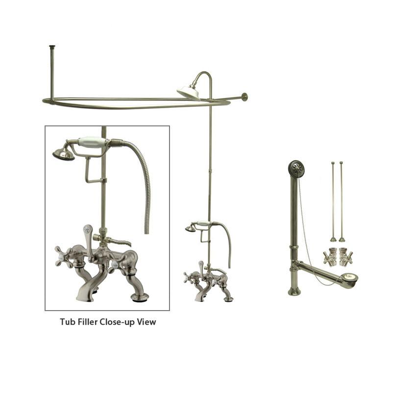 Satin Nickel Clawfoot Tub Faucet Shower Kit with Enclosure Curtain Rod 415T8CTS