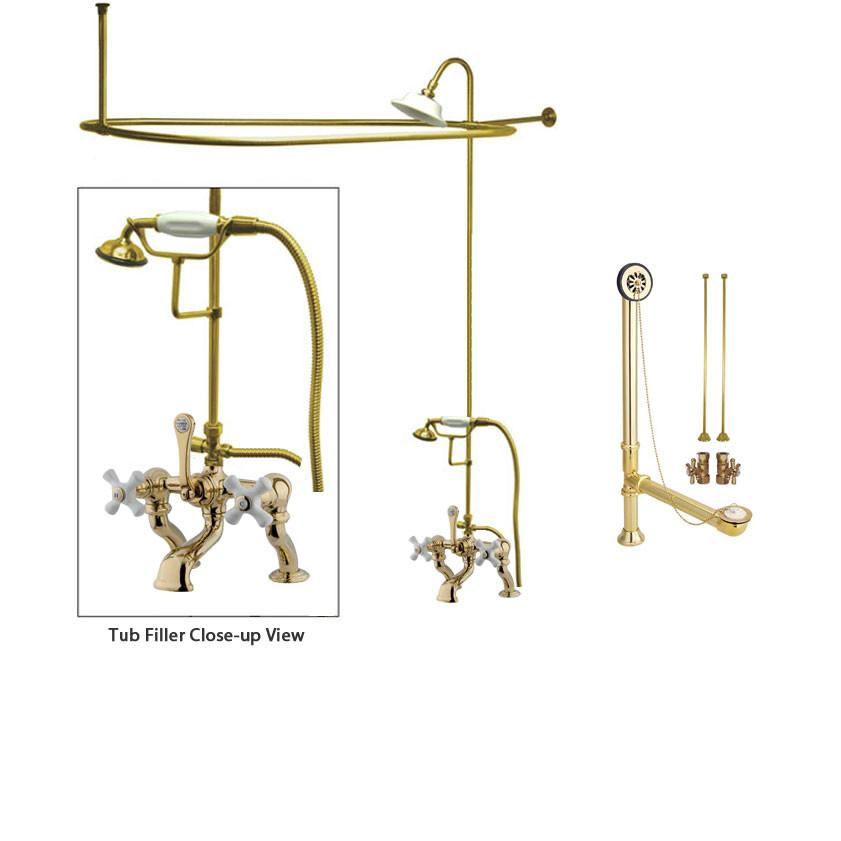 Polished Brass Clawfoot Tub Faucet Shower Kit with Enclosure Curtain Rod 417T2CTS