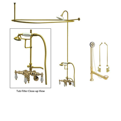 Polished Brass Clawfoot Bath Tub Faucet Shower Kit with Enclosure Curtain Rod 423T2CTS