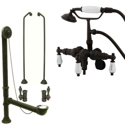 Oil Rubbed Bronze Wall Mount Clawfoot Tub Faucet w hand shower System Package CC423T5system