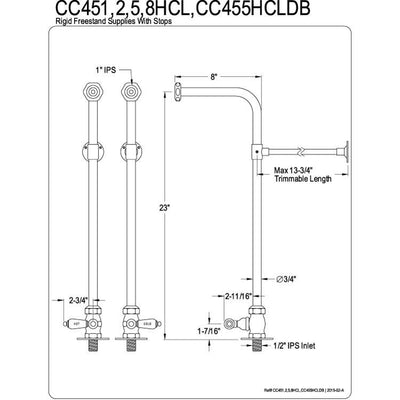 Kingston Brass Chrome Freestanding Bath tub Supply Lines with Stops CC451HCL