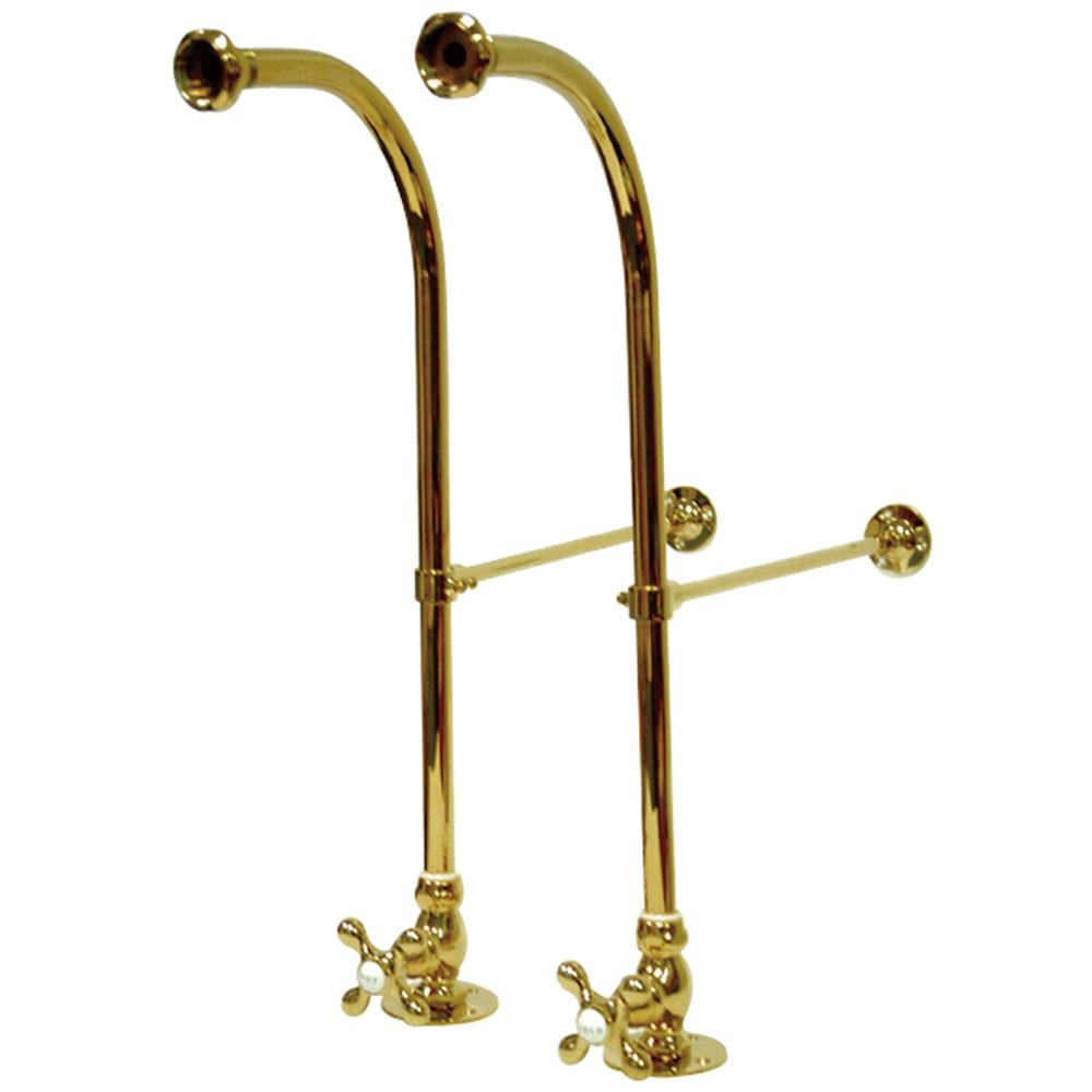 Kingston Polished Brass Freestanding Clawfoot Faucet Bath Supply lines CC452MX