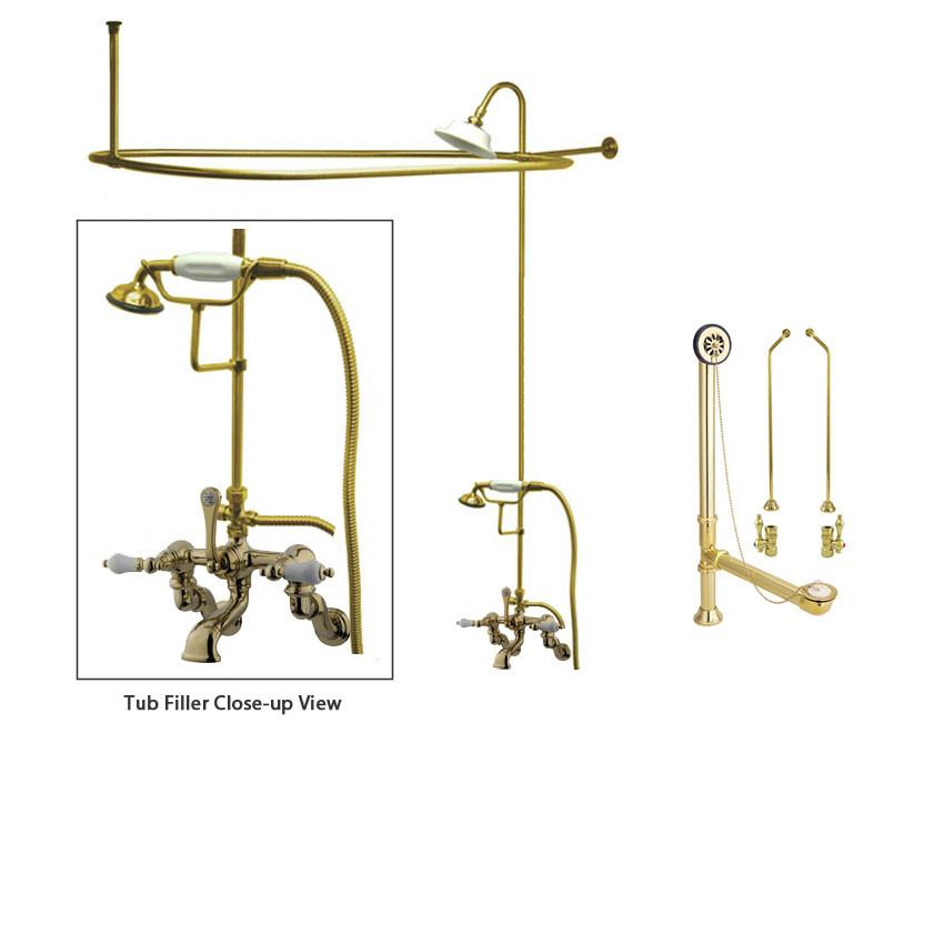 Polished Brass Faucet Clawfoot Tub Shower Kit with Enclosure Curtain Rod 459T2CTS
