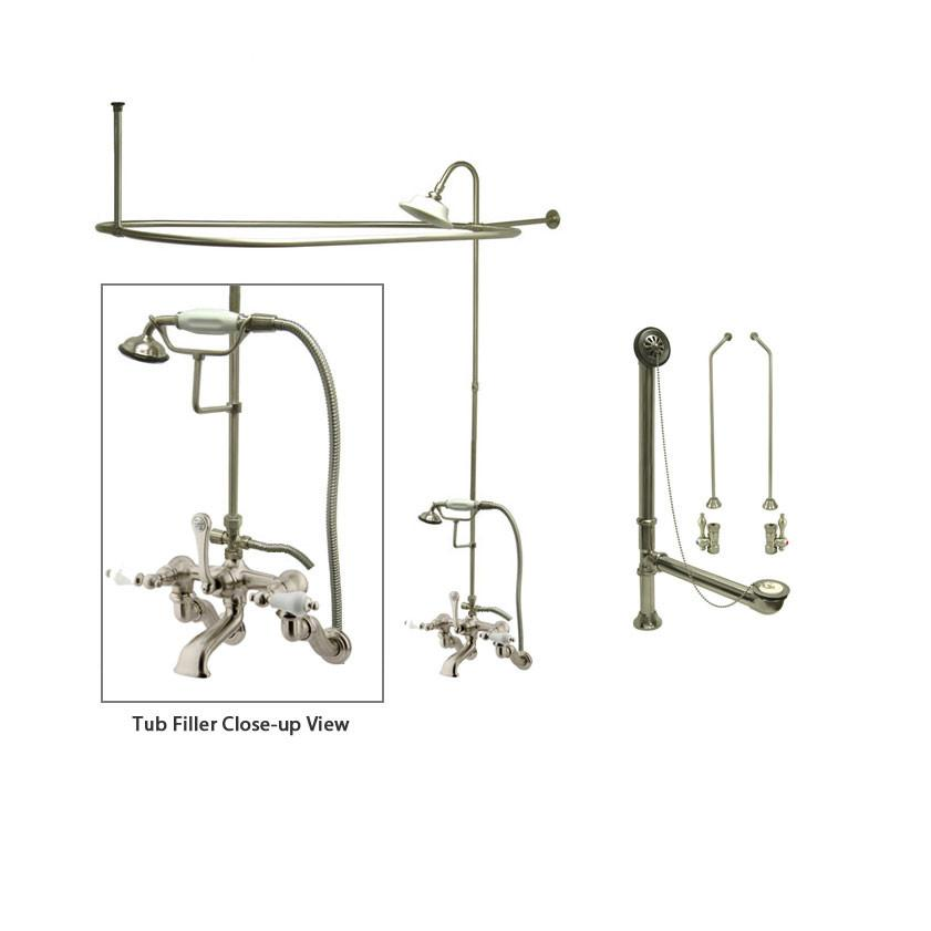 Satin Nickel Clawfoot Tub Faucet Shower Kit with Enclosure Curtain Rod 459T8CTS