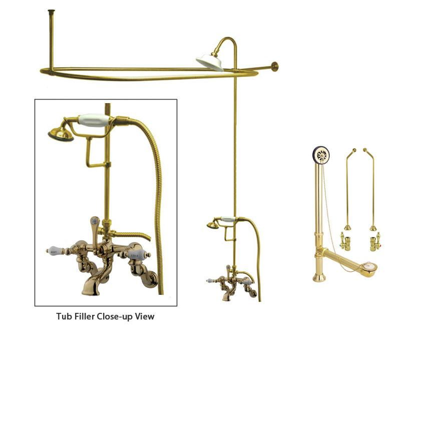 Polished Brass Clawfoot Tub Faucet Shower Kit with Enclosure Curtain Rod 461T2CTS