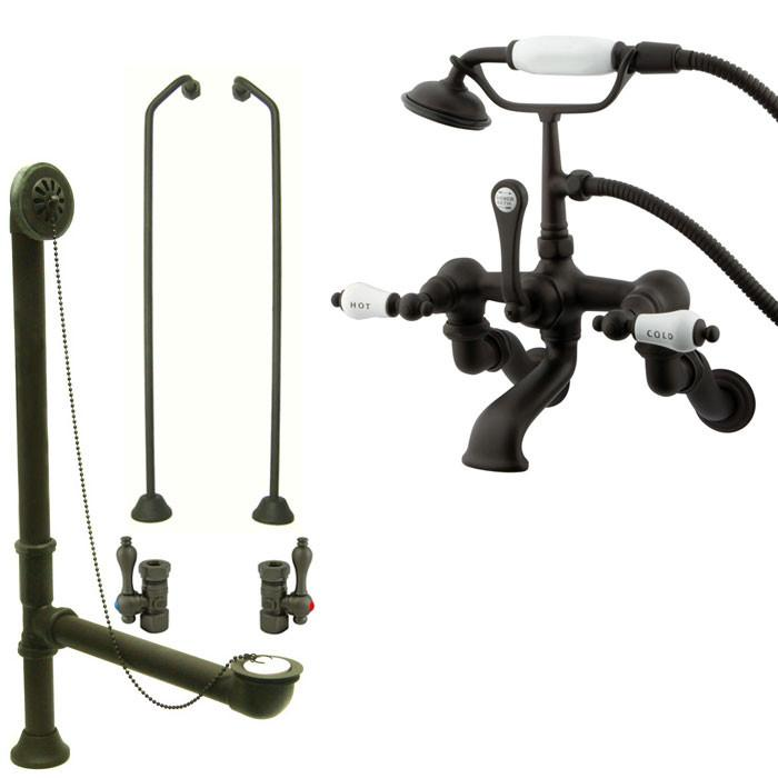 Oil Rubbed Bronze Wall Mount Clawfoot Tub Faucet Package w Drain Supplies Stops CC461T5system