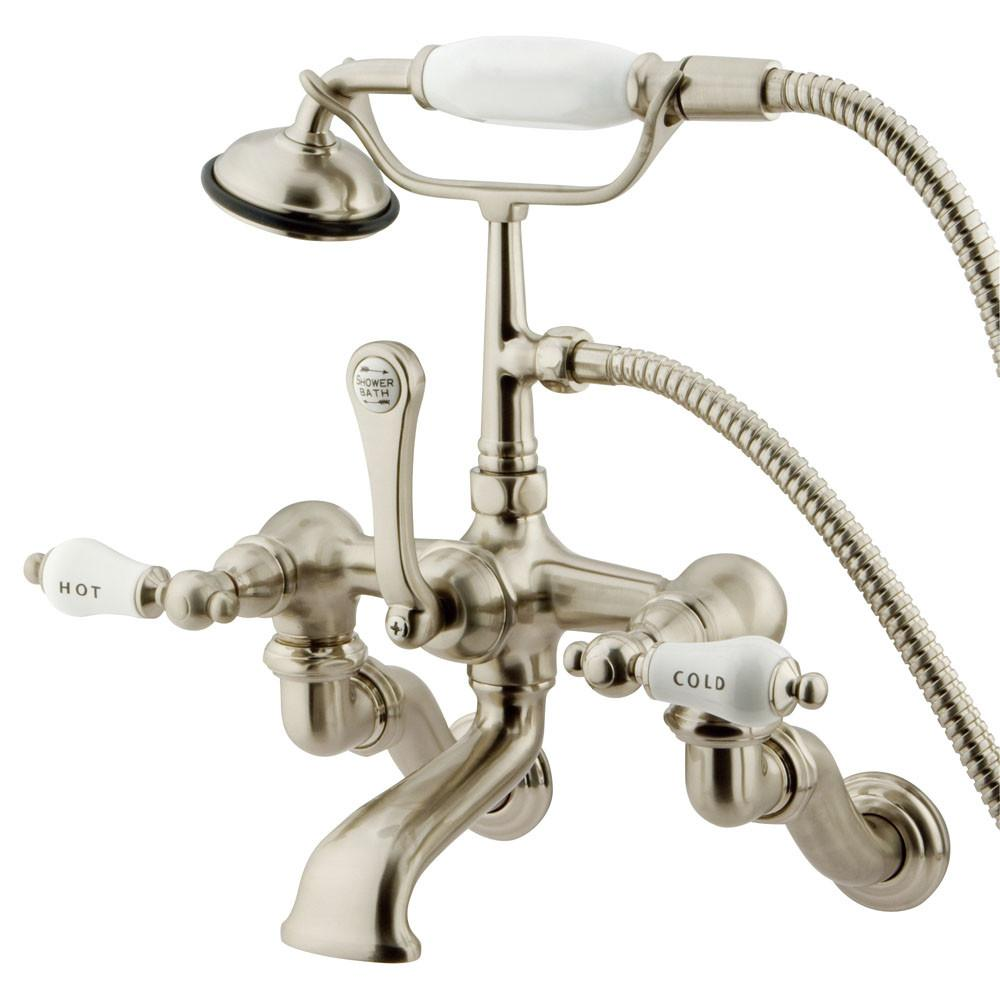Kingston Brass Satin Nickel Wall Mount Clawfoot Tub Faucet w hand shower CC461T8