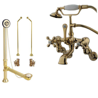 Polished Brass Wall Mount Clawfoot Tub Faucet Package w Drain Supplies Stops CC463T2system