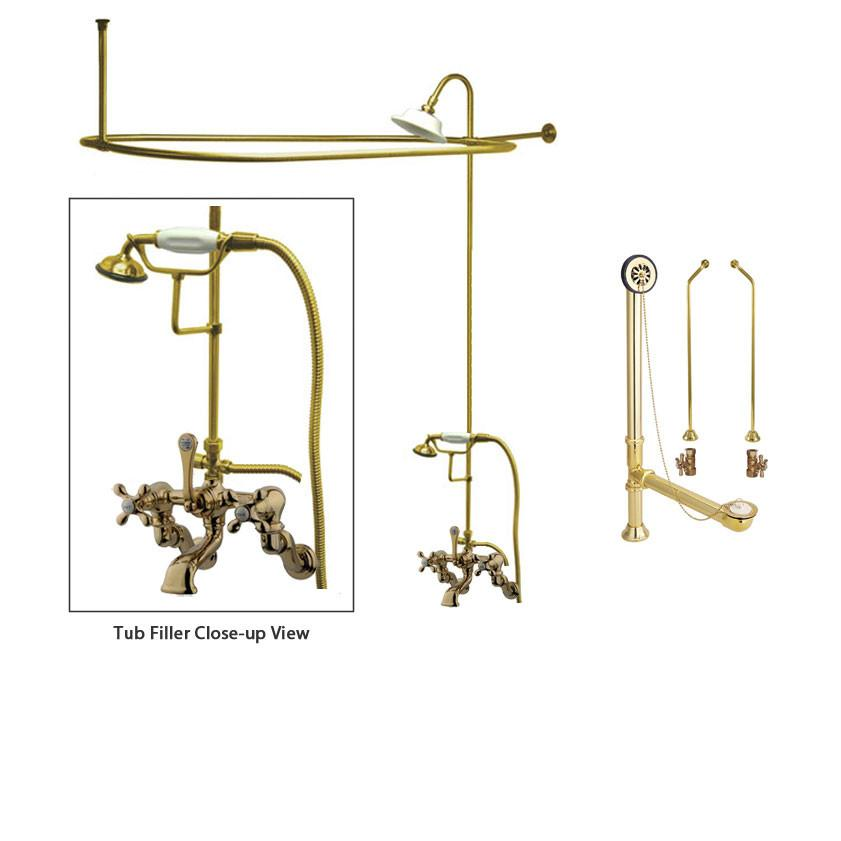 Polished Brass Clawfoot Tub Faucet Shower Kit with Enclosure Curtain Rod 463T2CTS