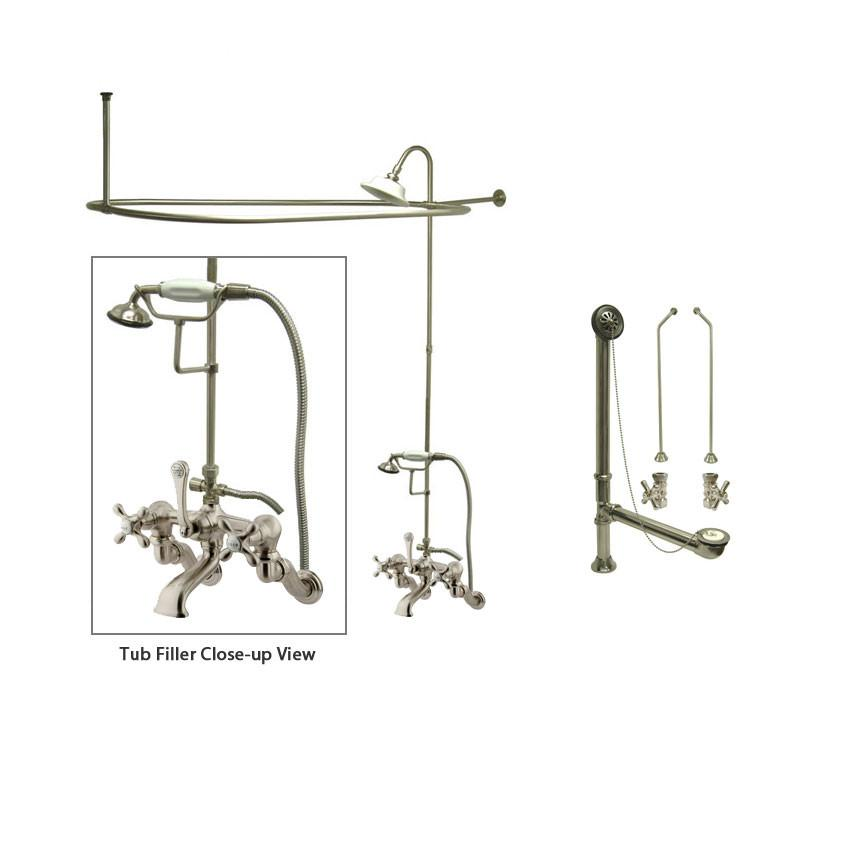 Satin Nickel Clawfoot Tub Faucet Shower Kit with Enclosure Curtain Rod 463T8CTS