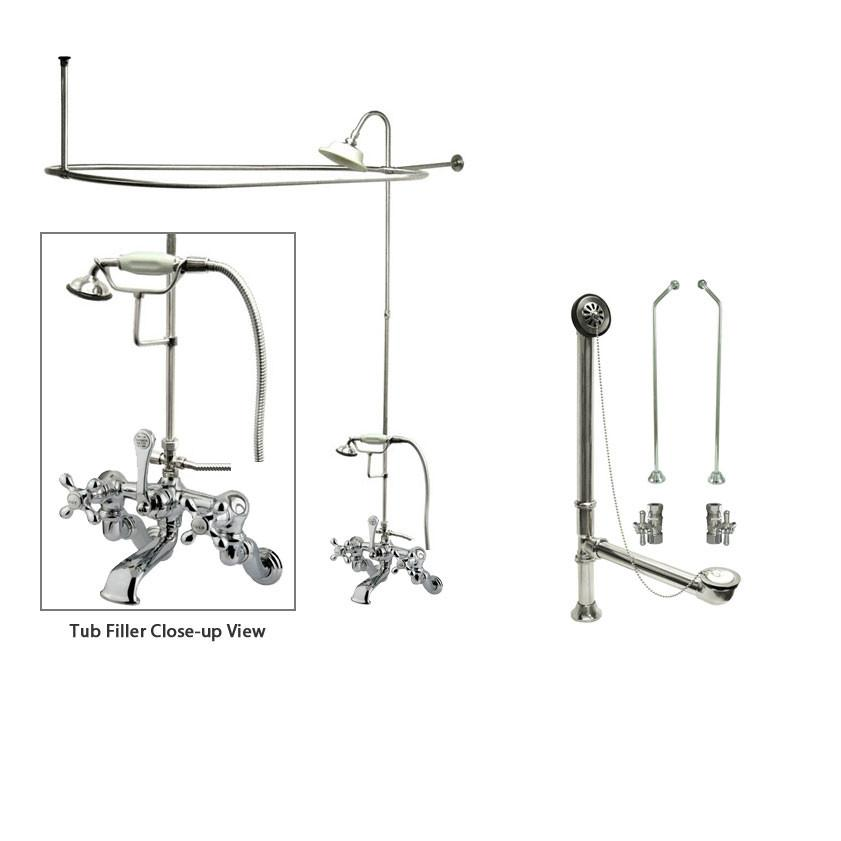 Chrome Clawfoot Tub Faucet Shower Kit with Enclosure Curtain Rod 464T1CTS