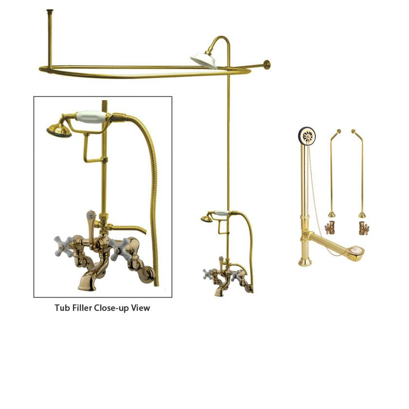 Polished Brass Clawfoot Tub Faucet Shower Kit with Enclosure Curtain Rod 465T2CTS
