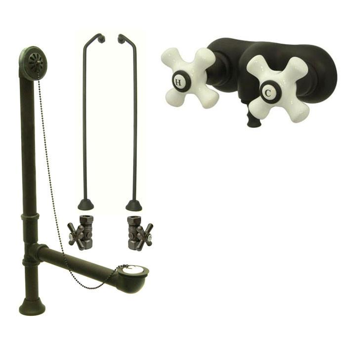 Oil Rubbed Bronze Wall Mount Clawfoot Bath Tub Filler Faucet Package CC49T5system