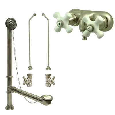 Satin Nickel Wall Mount Clawfoot Bath Tub Filler Faucet Package CC49T8system
