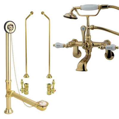 Polished Brass Wall Mount Clawfoot Tub Filler Faucet w Hand Shower Package CC53T2system