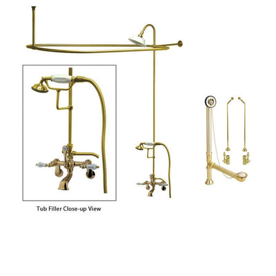 Polished Brass Clawfoot Tub Faucet Shower Kit with Enclosure Curtain Rod 53T2CTS