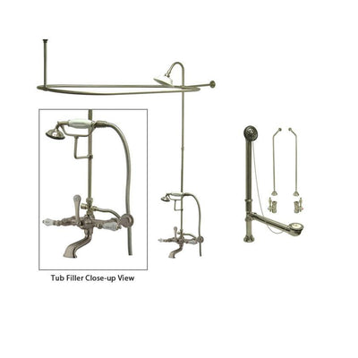 Satin Nickel Clawfoot Tub Faucet Shower Kit with Enclosure Curtain Rod 545T8CTS