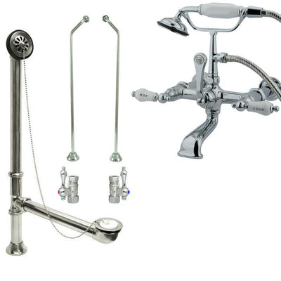 Chrome Wall Mount Clawfoot Bath Tub Filler Faucet w Hand Shower Package CC546T1system