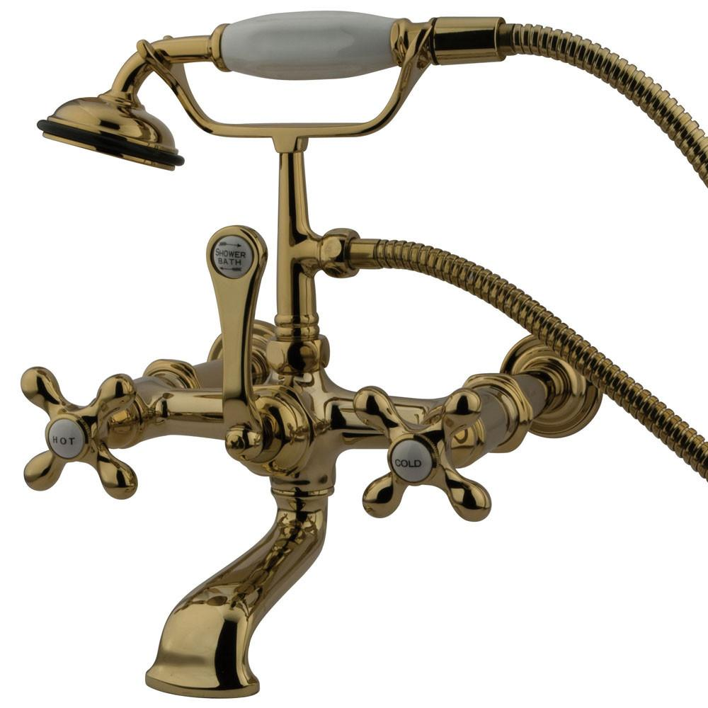 Kingston Polished Brass Wall Mount Clawfoot Tub Faucet w Hand Shower CC547T2