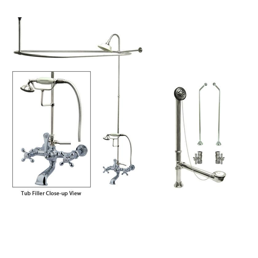 Chrome Clawfoot Tub Faucet Shower Kit with Enclosure Curtain Rod 548T1CTS