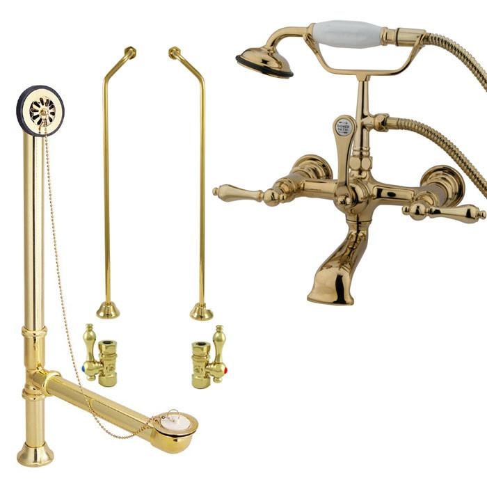Polished Brass Wall Mount Clawfoot Tub Filler Faucet w Hand Shower Package CC551T2system