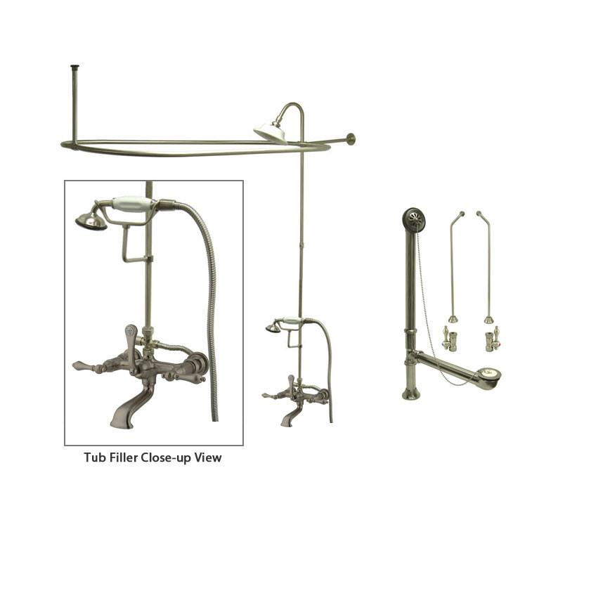 Satin Nickel Clawfoot Tub Faucet Shower Kit with Enclosure Curtain Rod 551T8CTS