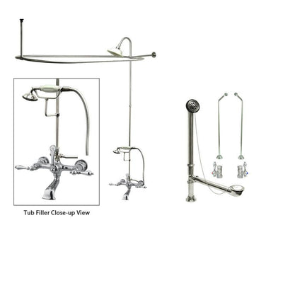 Chrome Clawfoot Tub Faucet Shower Kit with Enclosure Curtain Rod 552T1CTS