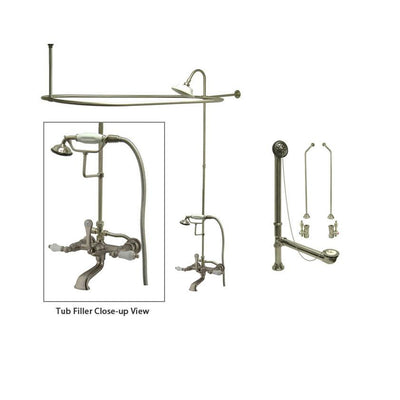 Satin Nickel Clawfoot Tub Faucet Shower Kit with Enclosure Curtain Rod 553T8CTS