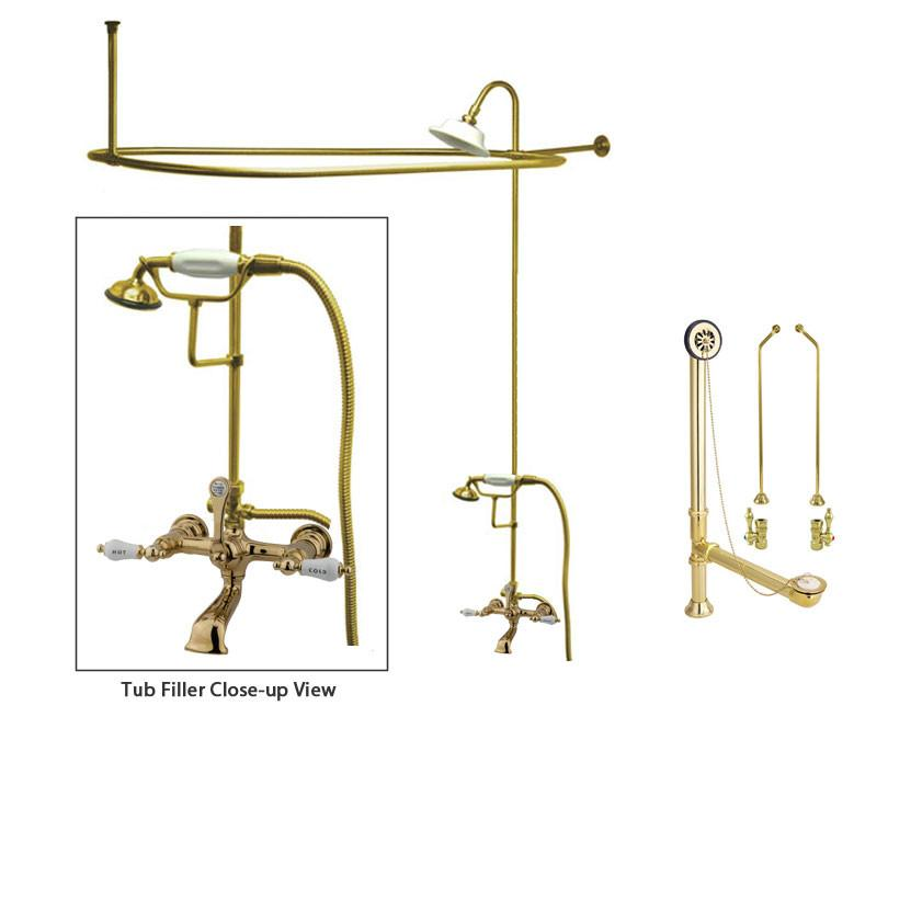 Polished Brass Clawfoot Tub Faucet Shower Kit with Enclosure Curtain Rod 555T2CTS