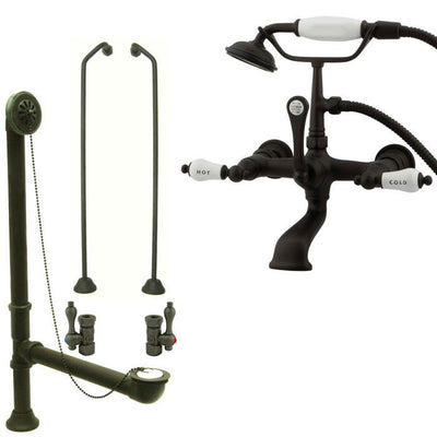 Oil Rubbed Bronze Wall Mount Clawfoot Tub Faucet w Hand Shower Package CC555T5system