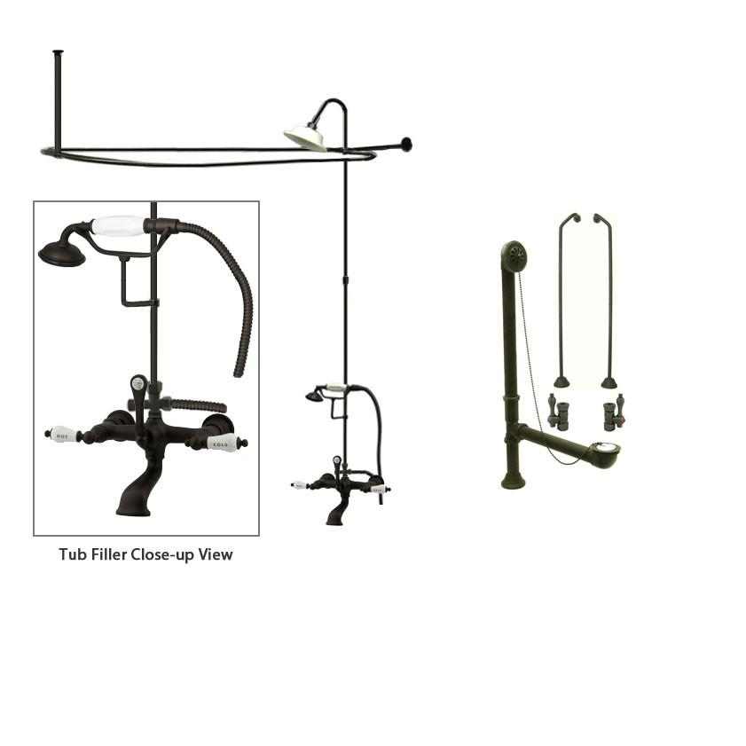 Oil Rubbed Bronze Clawfoot Bathtub Faucet Shower Kit with Enclosure Curtain Rod 555T5CTS