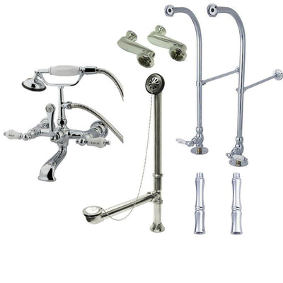 Freestanding Floor Mount Chrome Hot/Cold Porcelain Lever Handle Clawfoot Tub Filler Faucet with Hand Shower Package 556T1FSP
