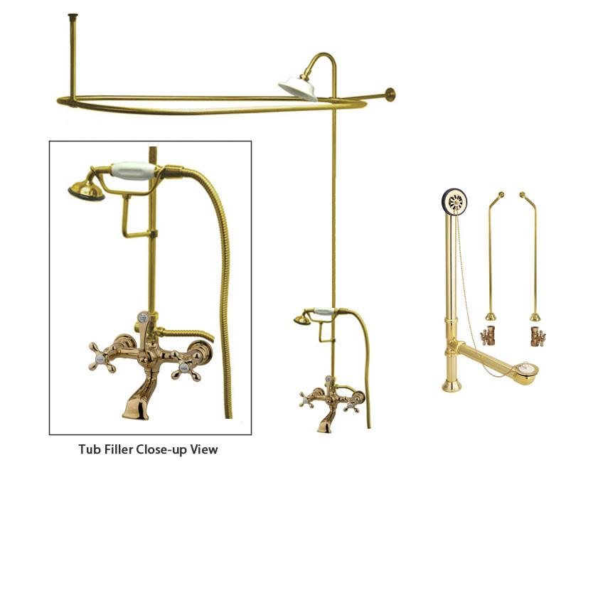 Polished Brass Clawfoot Tub Faucet Shower Kit with Enclosure Curtain Rod 557T2CTS