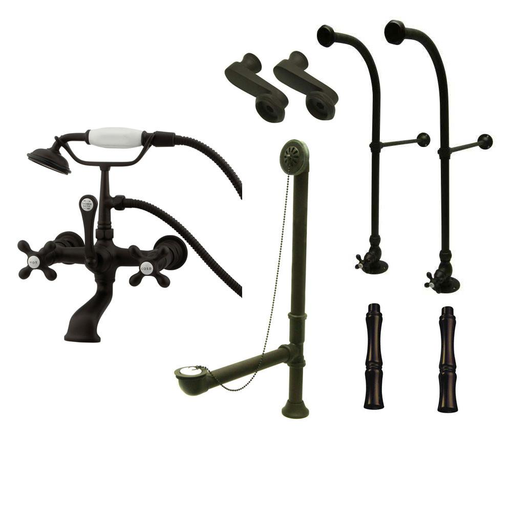 Freestanding Floor Mount Oil Rubbed Bronze Metal Cross Handle ...