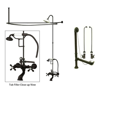 Oil Rubbed Bronze Clawfoot Tub Faucet Shower Kit with Enclosure Curtain Rod 557T5CTS