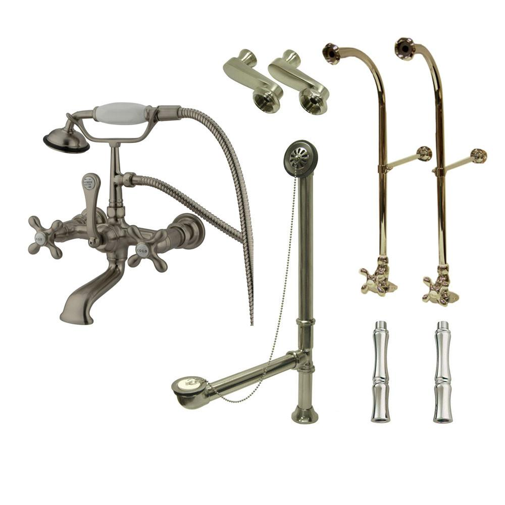 Freestanding Floor Mount Satin Nickel Metal Cross Handle Clawfoot Tub Filler Faucet with Hand Shower Package 557T8FSP
