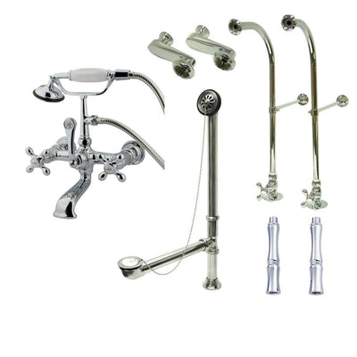 Freestanding Floor Mount Chrome Metal Cross Handle Clawfoot Tub Filler Faucet with Hand Shower Package 558T1FSP