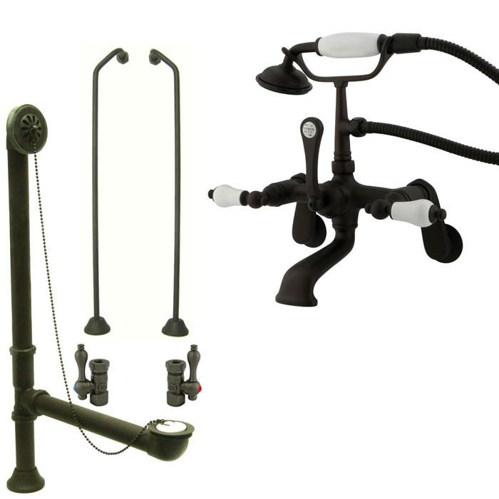 Oil Rubbed Bronze Wall Mount Clawfoot Bath Tub Faucet w Hand Shower Package CC55T5system