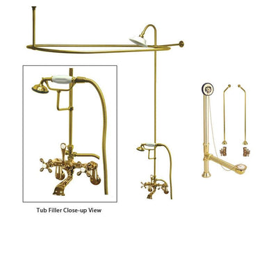 Polished Brass Clawfoot Tub Faucet Shower Kit with Enclosure Curtain Rod 57T2CTS