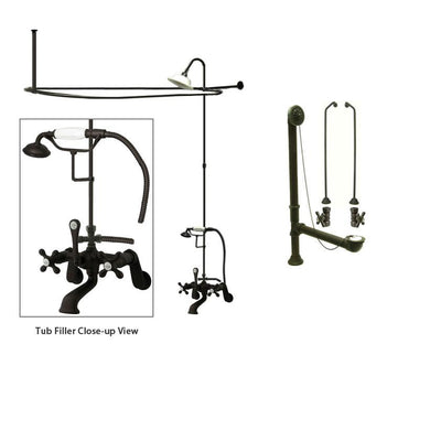Oil Rubbed Bronze Clawfoot Tub Faucet Shower Kit with Enclosure Curtain Rod 57T5CTS