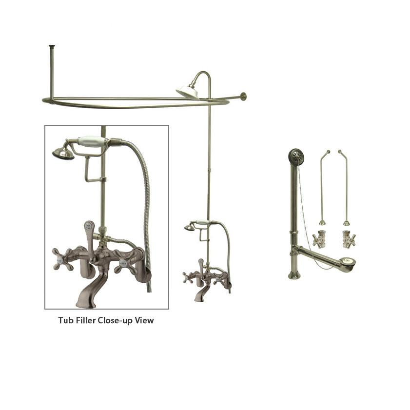 Satin Nickel Clawfoot Tub Faucet Shower Kit with Enclosure Curtain Rod 57T8CTS