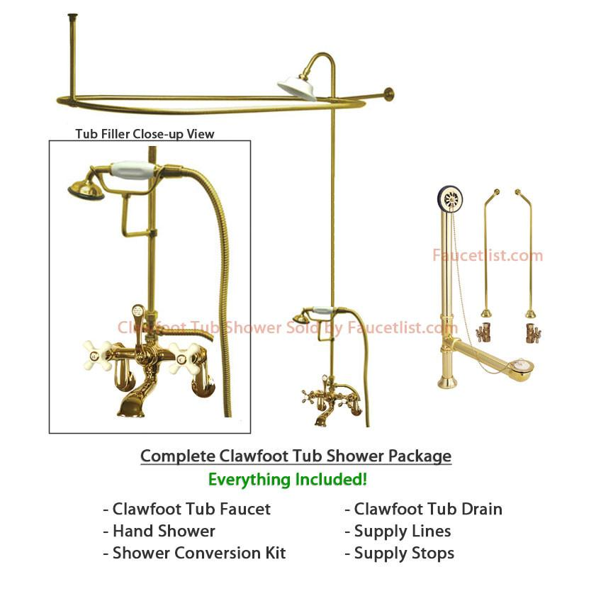 Polished Brass Clawfoot Tub Faucet Shower Kit with Enclosure Curtain ...