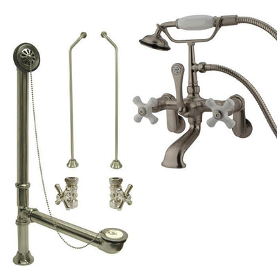 Satin Nickel Wall Mount Clawfoot Bathtub Filler Faucet w Hand Shower Package CC59T8system