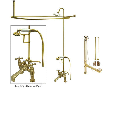 Polished Brass Clawfoot Tub Faucet Shower Kit with Enclosure Curtain Rod 609T2CTS